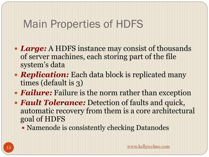 Main Properties of HDFS