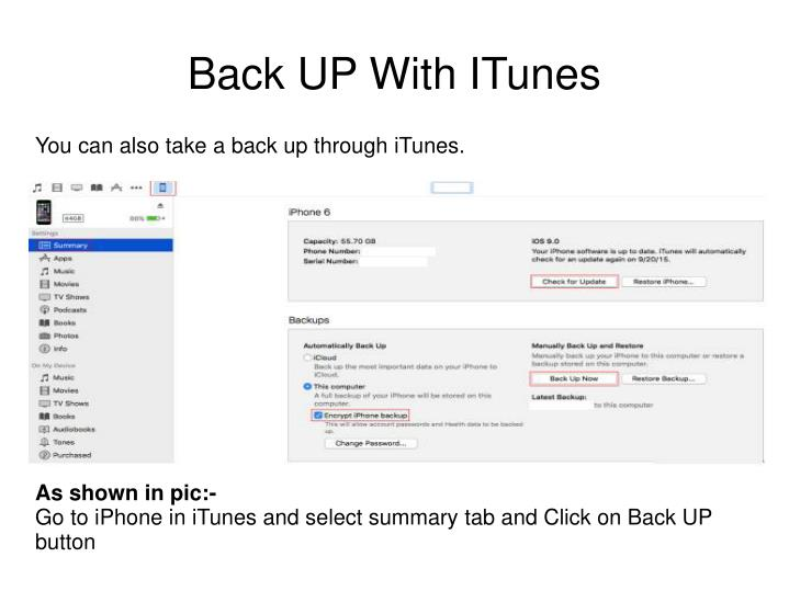 Back UP With ITunes