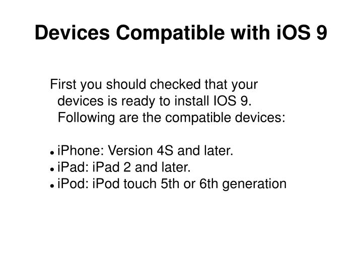 Devices compatible with ios 9