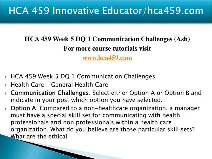 HCA 459 Innovative Educator/hca459.com