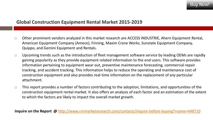 Global Construction Equipment Rental Market 2015-2019