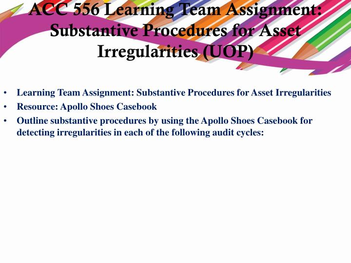 ACC 556 Learning Team Assignment: Substantive Procedures for Asset Irregularities (UOP)
