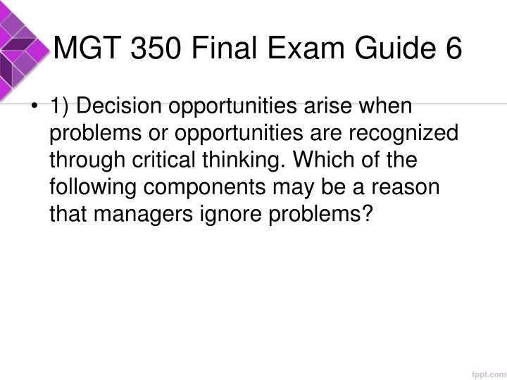MGT 350 Final Exam Guide 6