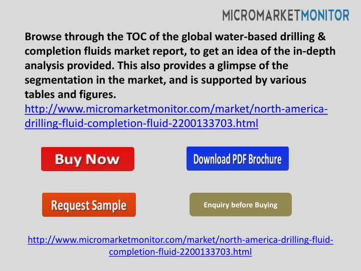 Browse through the TOC of the global water-based drilling & completion fluids market report, to get ...