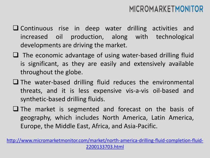Continuous rise in deep water drilling activities and increased oil production, along with technological developments are driving the market.
