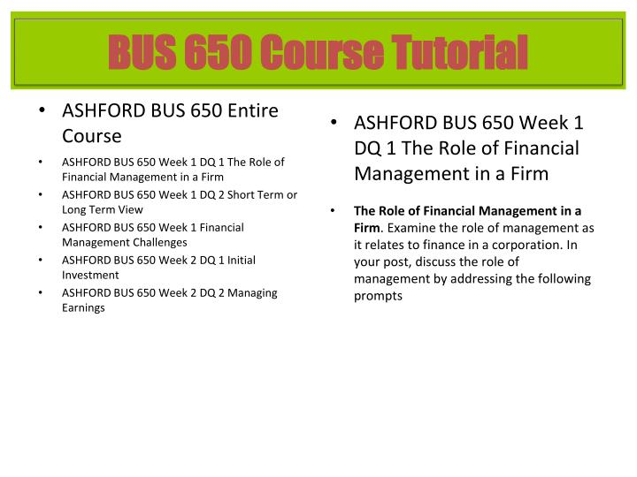 ASHFORD BUS 650 Entire Course