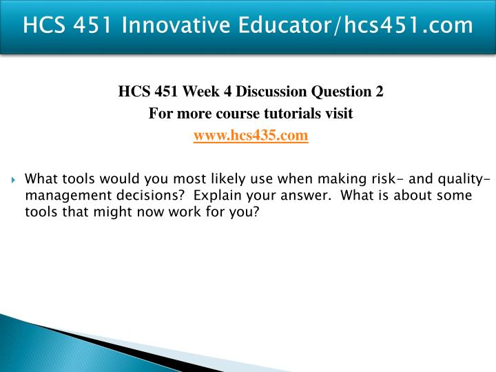 HCS 451 Innovative Educator/hcs451.com