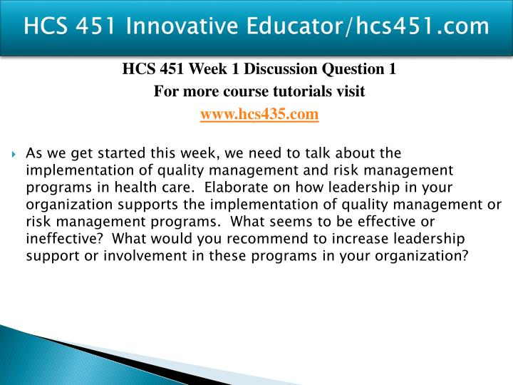 Hcs 451 innovative educator hcs451 com2