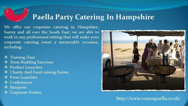 Paella party catering in hampshire