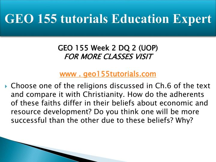 GEO 155 tutorials Education Expert