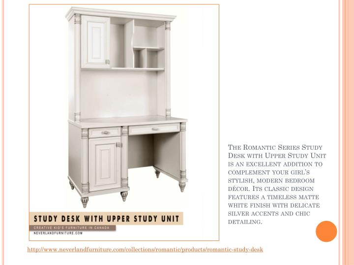 The Romantic Series Study Desk with Upper Study Unit is an excellent addition to complement your girl's stylish, modern bedroom décor. Its classic design features a timeless matte white finish with delicate silver accents and chic detailing.