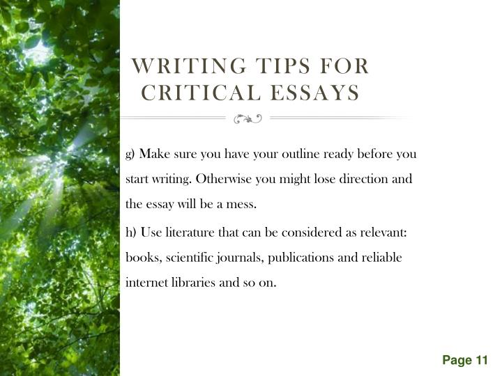 Writing tips for critical essays