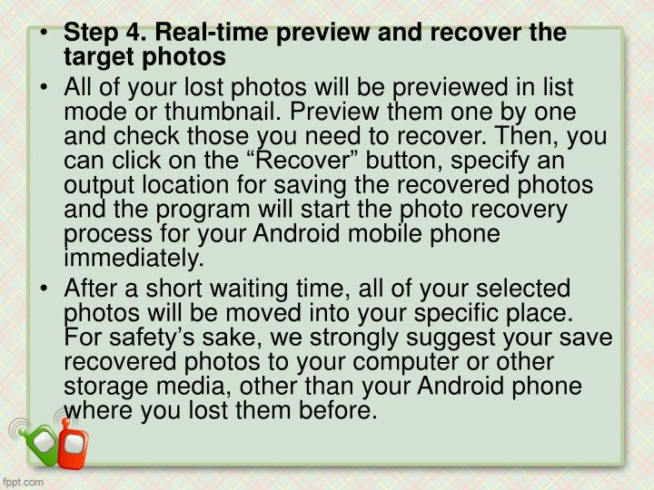 Step 4. Real-time preview and recover the target photos