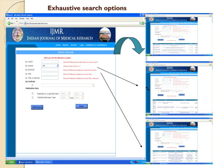 Exhaustive search options