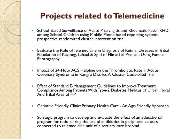 Projects related to Telemedicine