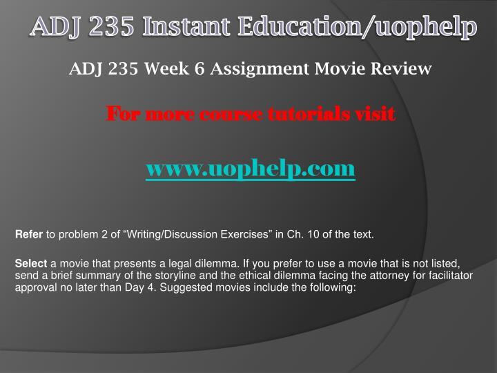 ADJ 235 Instant Education/
