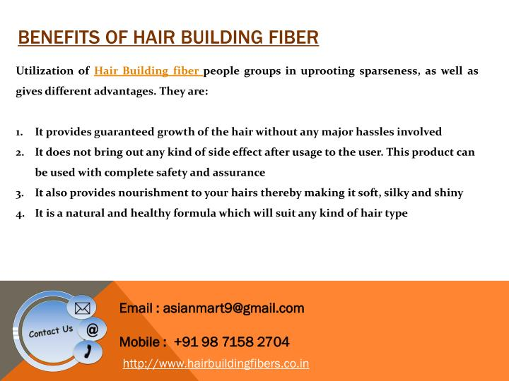 Benefits of hair building Fiber