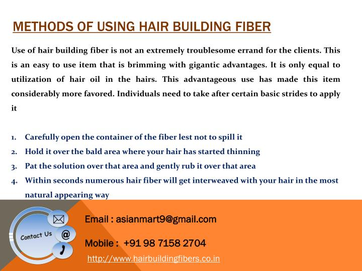 Methods of using hair building fiber