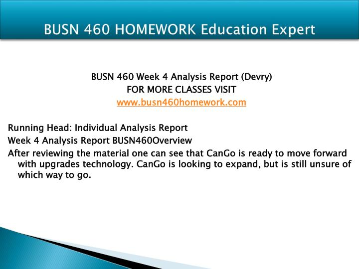 BUSN 460 HOMEWORK Education Expert