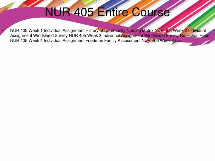 Nur 405 entire course