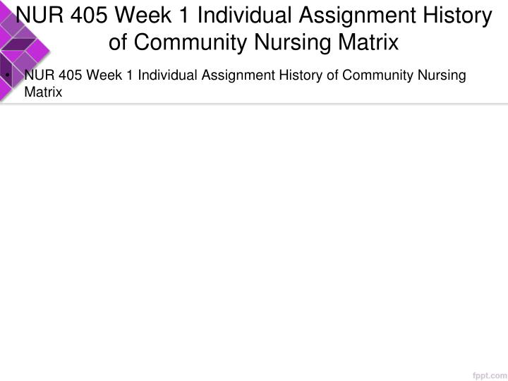 Nur 405 week 1 individual assignment history of community nursing matrix