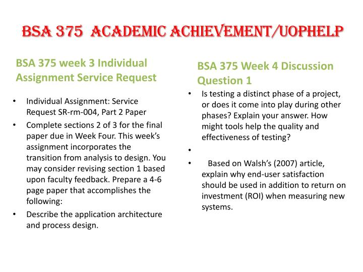 bsa 375 week 2 individual paper Read this essay on bsa 375 week 2 individual assignment come browse our large digital warehouse of free sample essays get the knowledge you need in order to pass your classes and more only at termpaperwarehousecom.