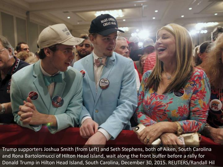 Trump supporters Joshua Smith (from Left) and Seth Stephens, both of Aiken, South Carolina and Rona Bartolomucci of Hilton Head Island, wait along the front buffer before a rally for Donald Trump in Hilton Head Island, South Carolina, December 30, 2015. REUTERS/Randall Hil