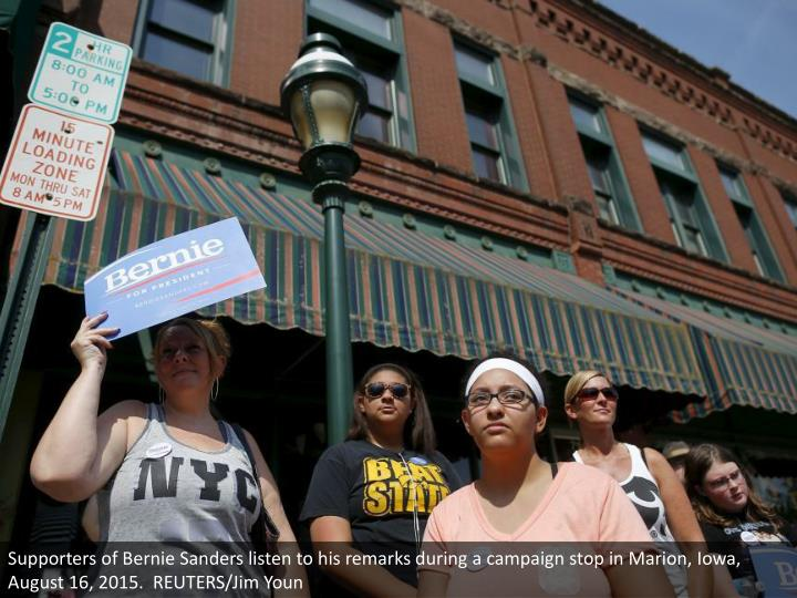 Supporters of Bernie Sanders listen to his remarks during a campaign stop in Marion, Iowa, August 16, 2015.  REUTERS/Jim Youn