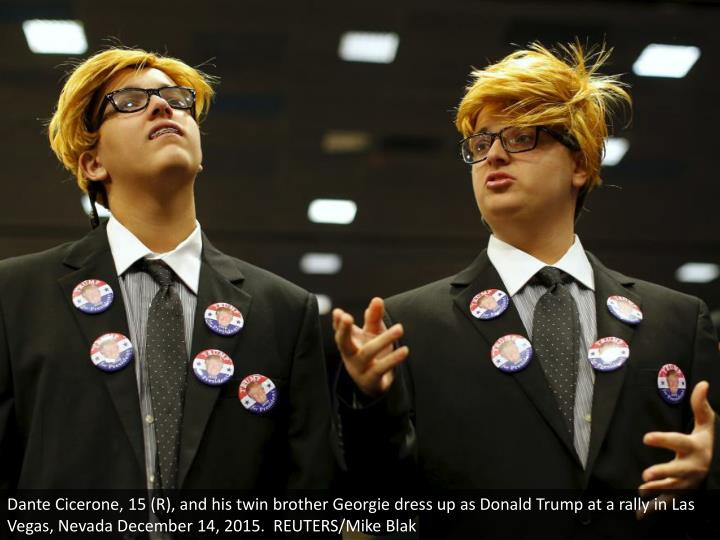 Dante Cicerone, 15 (R), and his twin brother Georgie dress up as Donald Trump at a rally in Las Vega...