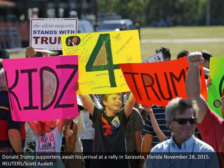 Donald Trump supporters await his arrival at a rally in Sarasota, Florida November 28, 2015.  REUTERS/Scott Audett