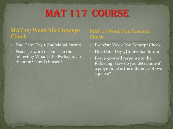 MAT 117  Course