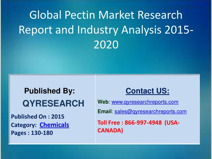 Global Pectin Market Research