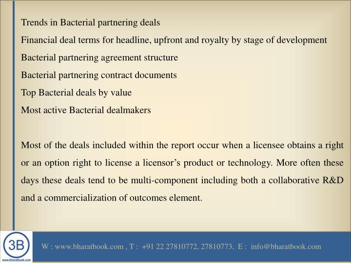 Trends in Bacterial partnering deals