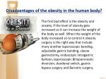 disadvantages of the obesity in the human body