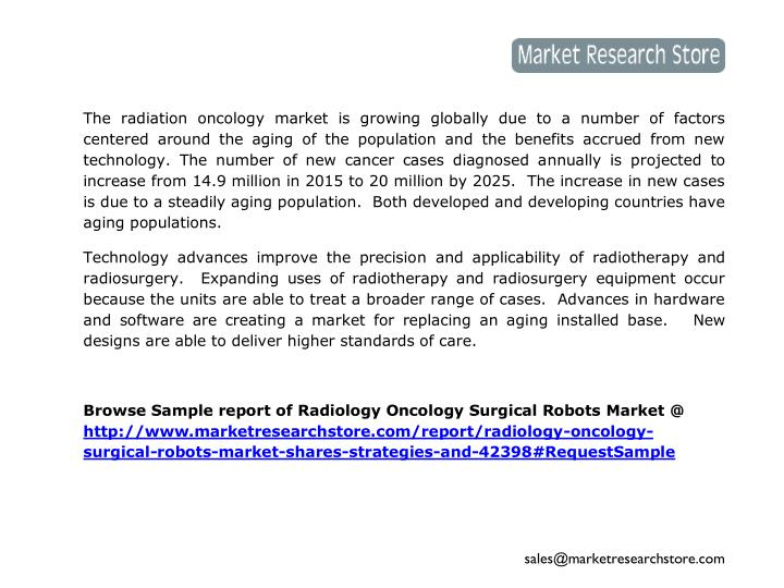 The radiation oncology market is growing globally due to a number of factors