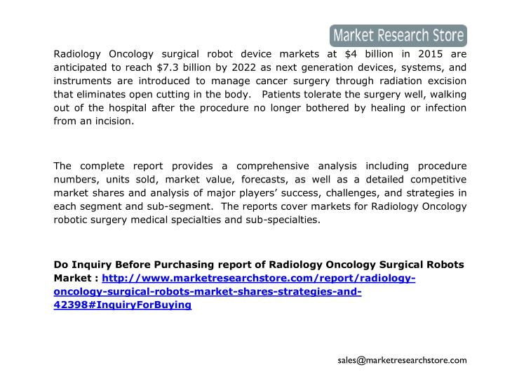 Radiology Oncology surgical robot device markets at $4 billion in 2015 are