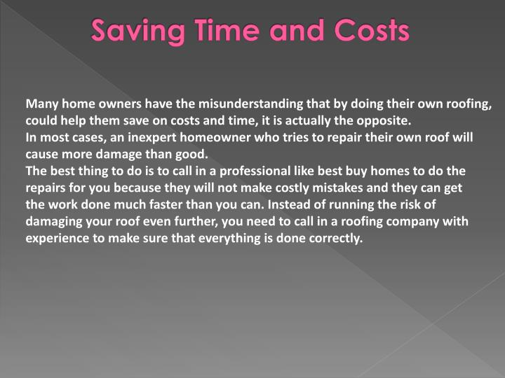 Saving Time and Costs