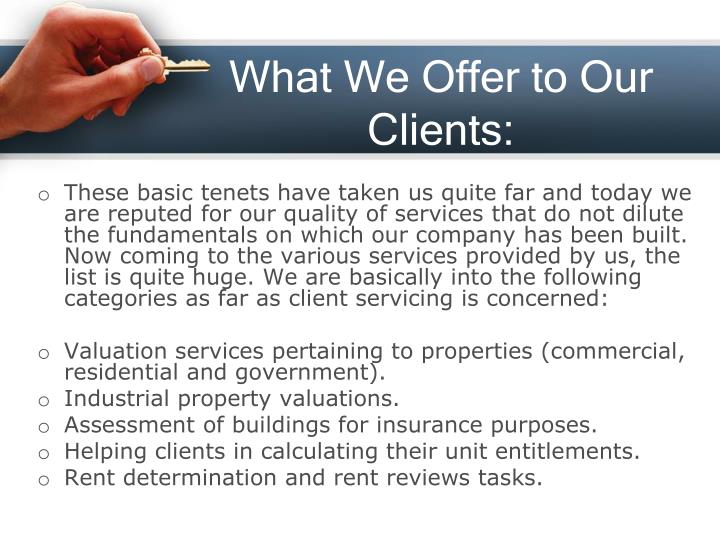 What We Offer to Our Clients: