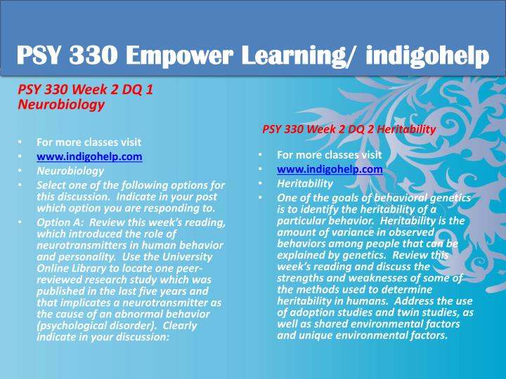 PSY 330 Empower Learning/