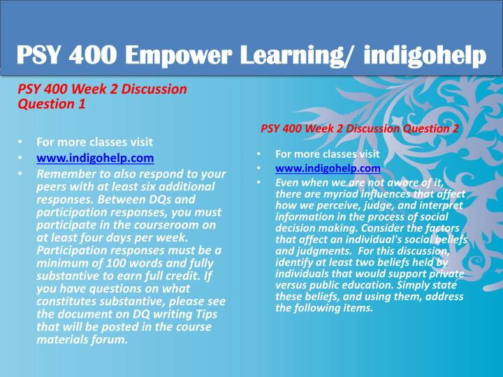 PSY 400 Empower Learning/