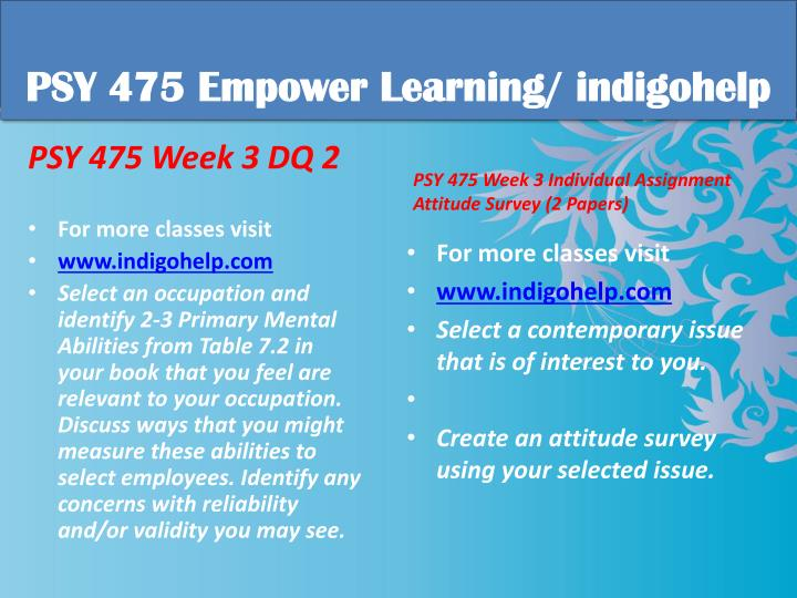 PSY 475 Empower Learning/