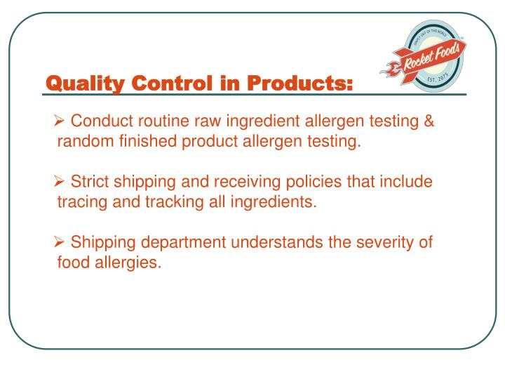 Quality Control in Products: