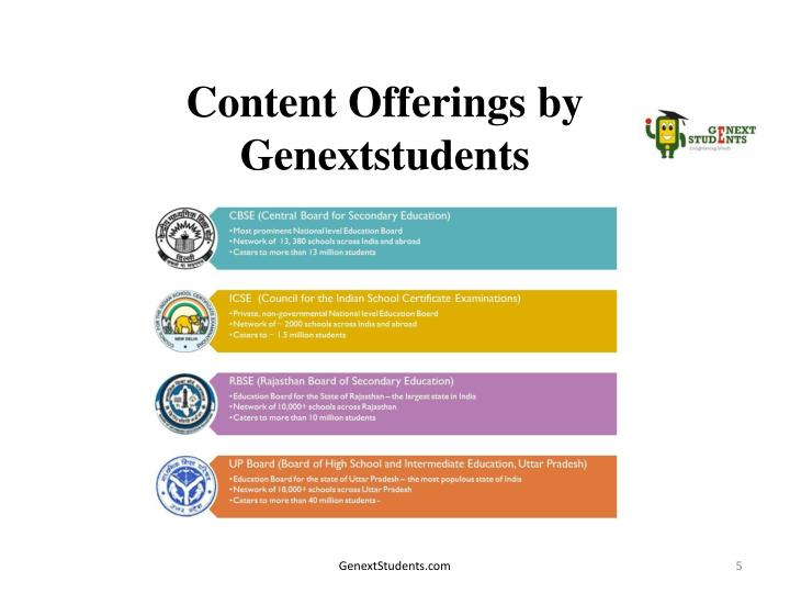 Content Offerings by Genextstudents