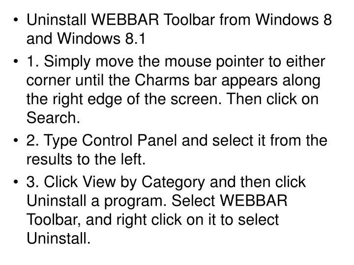 Uninstall WEBBAR Toolbar from Windows 8 and Windows 8.1