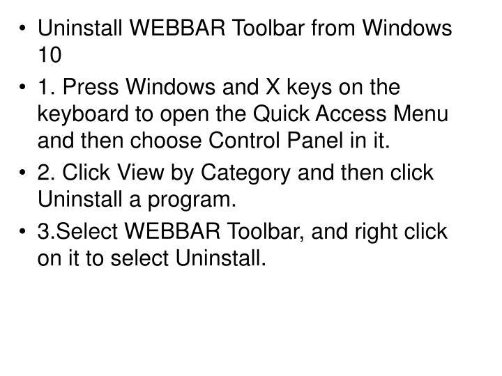 Uninstall WEBBAR Toolbar from Windows 10