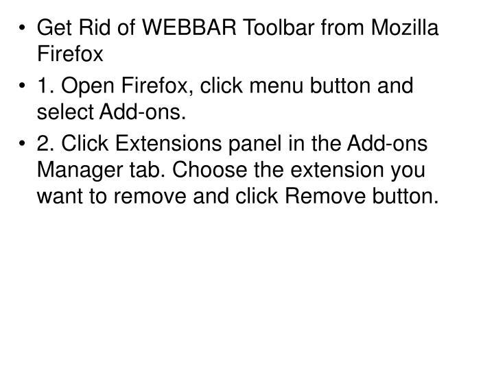 Get Rid of WEBBAR Toolbar from Mozilla Firefox