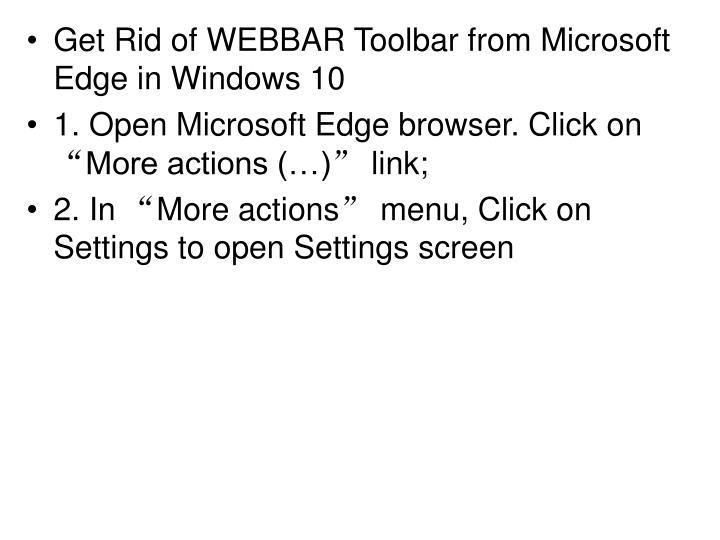 Get Rid of WEBBAR Toolbar from Microsoft Edge in Windows 10