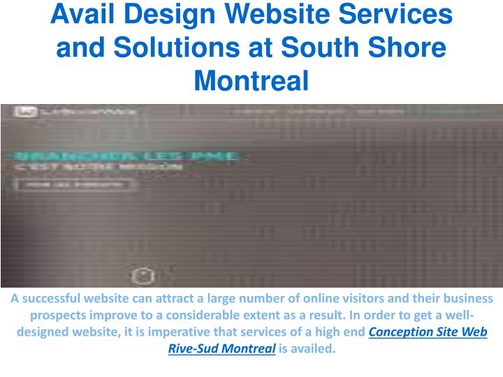 Avail design website services and solutions at south shore montreal