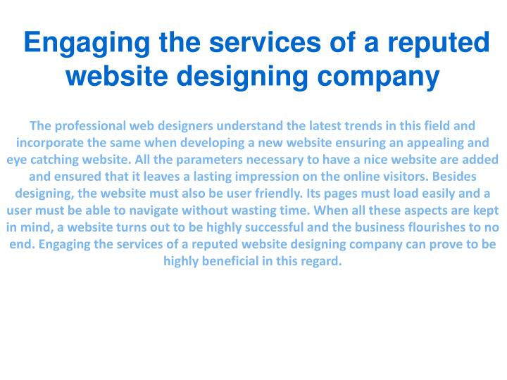 Engaging the services of a reputed website designing company