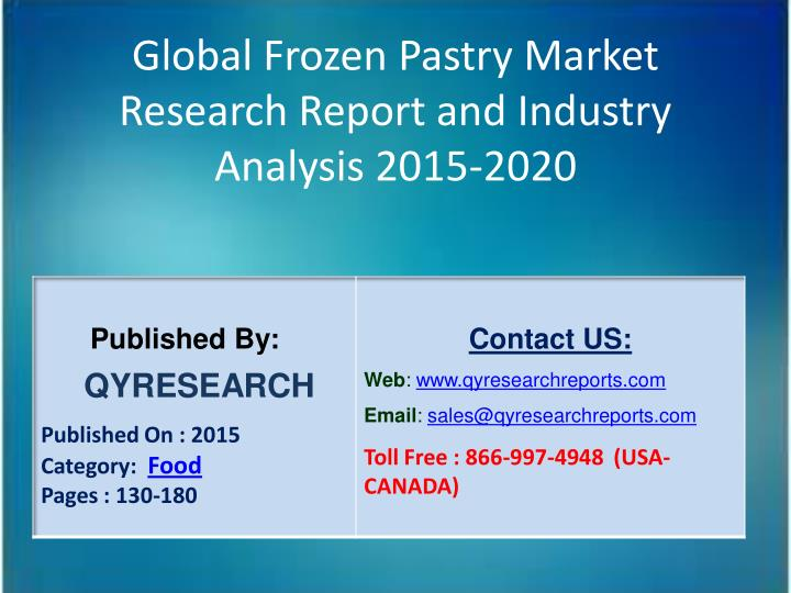 Global Frozen Pastry Market